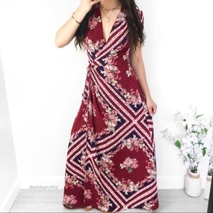 Red white navy floral plunge wrap maxi dress